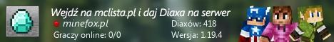Szeroki baner serwera Wersja: 1.8.x - 1.17.x IP: minefox.pl