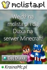 Duży baner serwera Wersja: 1.8 - 1.17.1 IP: KrainaMc.pl